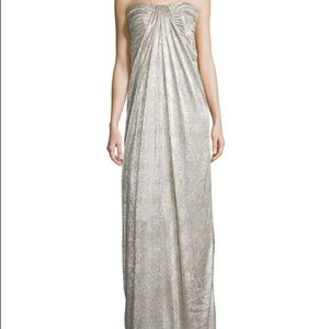 Laundry Shelli Segal gold/silver snakeskin gown 10