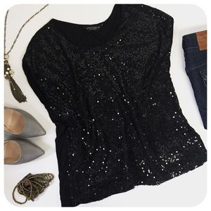 {{ Dorothy Perkins }} Black Sequin Boxy Party Top