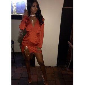 ce35a07ba7c Missguided Dresses - Orange silky long sleeve panelled dress