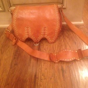 Alexis Hudson Chestnut Leather Gold Studded Purse