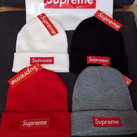 Supreme Beanie Red Black Gray White Classic Logo efe7af9a367