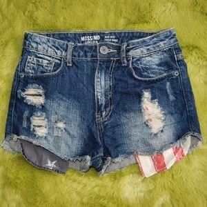 MOSSIMO Dark Denim Distressed Patriotic Shorts 3