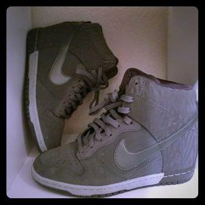 Nike Dunk Sky Hi Prm Satin Wedge Shoes Gray 8