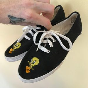 Vintage Looney Tunes Tweety Canvas Shoes Size 9