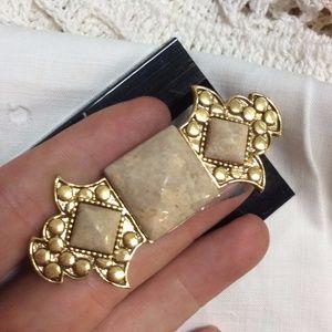 Art Deco Marble Slab Scarf Pin Brooch