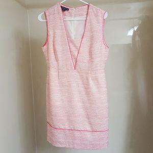 NWoT Covington dress 6, pink yellow silver white