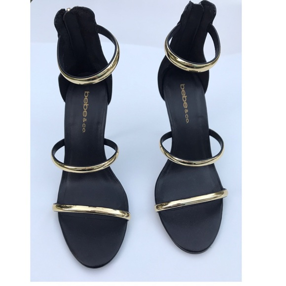 Gold And Black Strappy Heels