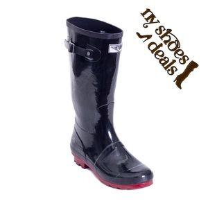 Women Black Rubber Rainboots RB-1535