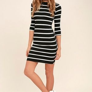 Cute Black and White Striped Dress