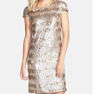 Vera Wang Paillete & Gold Sequin Shift Dress