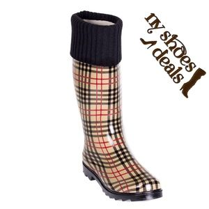 Women Plaid Cuff Rubber Rainboots, Wellies
