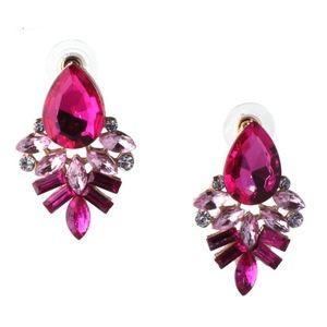Jewelry - Hot Pink Crystal Drop Dangle Statement Earrings