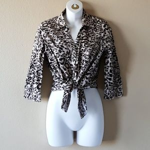 212 Collection Leopard Print Button Down Top