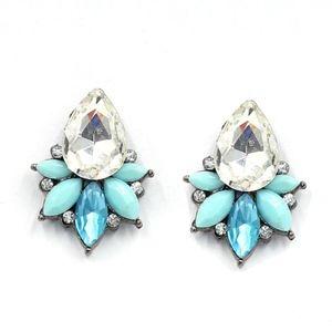 Jewelry - Blue & Clear Crystal Dangle Statement Earrings