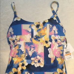 NWT Calvin Floral Tankini Top (S) MSRP $98.00