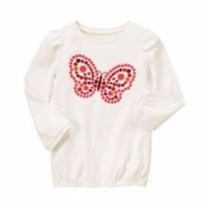 New GYMBOREE Butterfly Girl Embroidery L/S Top NWT