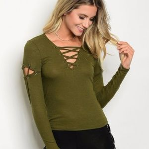 NEW OLIVE LACE-UP TOP