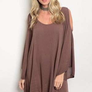 NEW LONG SLEEVE COLD SHOULDER SHIFT DRESS