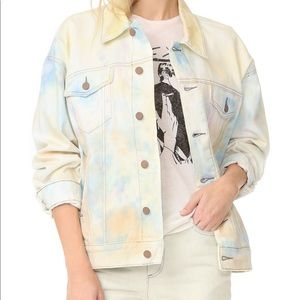 Free People Tie Dye Denim Trucker jacket