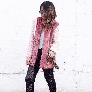 HP Daya by Zendaya Tri Color Pink Faux Fur Coat