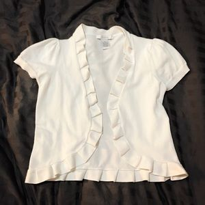Sweaters - Cute Ruffle White Short Sleeve Cardigan