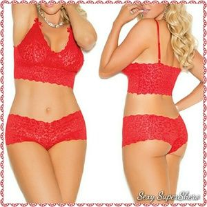 Womens Plus Red Bra Set 2X  Cami Top Booty Shorts Panty Stretch Lace Lingerie