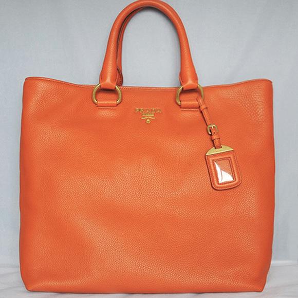 410777b0cb08 PRADA Orange VITELLO DAINO Leather Shopping Tote