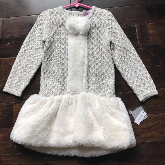 7c0adf61410b Tahari Dresses | Girls Holiday Party Faux Fur Sweater Dress 3 | Poshmark