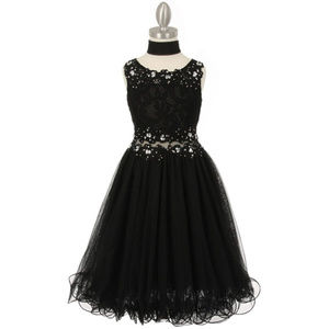 BLACK Lace Bodice with Rhinestone Wired Mesh Skirt