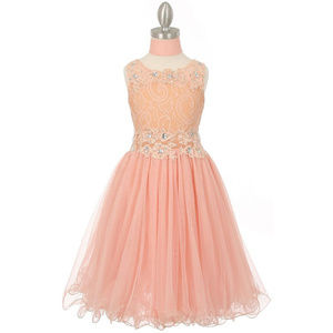 PEACH Lace Bodice with Rhinestone Wired Mesh Skirt
