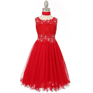 RED Lace Bodice with Rhinestone Wired Mesh Skirt