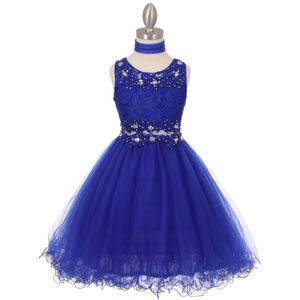 ROYAL BLUE Lace Bodice Rhinestone Wired Mesh Skirt