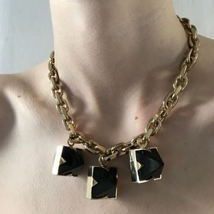 Givenchy gold chain necklace black diamond charms