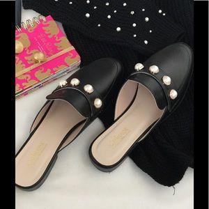 Cathernie Malandrino black Pearls Mules