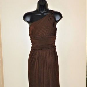 Maggy London Brown Stretchy One-Shoulder Dress