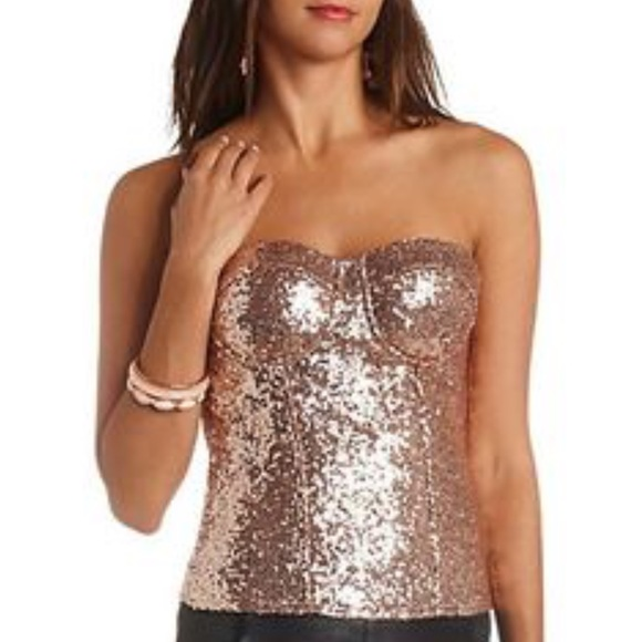 7e990bacae7 Charlotte Russe Tops - Rose Gold Sequin Corset Strapless Top Size XS ✨