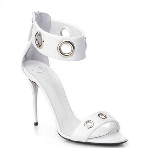 SALE!Giuseppe Zanotti white leather grommet heels