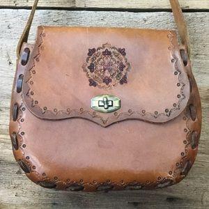 Vintage Bags - Vintage Leather Tooled Mandala Shoulder Bag 51419abeffa1