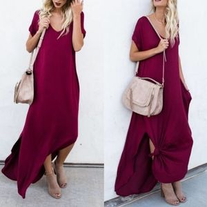 CHARLIZE solid boho dress - WINE