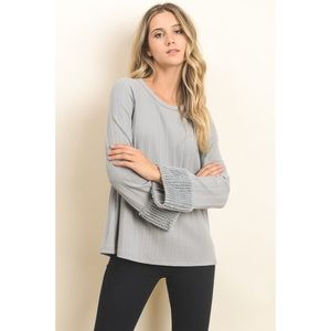 Sofia Fuzzy Cuff Ribbed Top