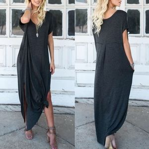 CHARLIZE solid boho dress - CHARCOAL