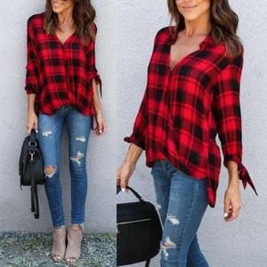 BECCA Plaid Bow Tie Sleeve Top - RED