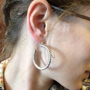 Vintage Jewelry - Twisty Medium Gypsy Hoop Earrings