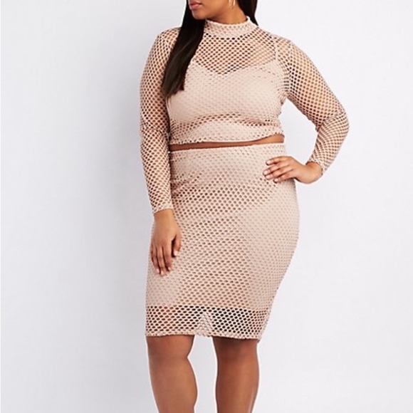 Charlotte Russe Skirts | Tan Plus Size Fishnet Pencil Skirt Bodycon ...