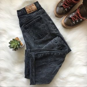 Black Acid Wash Vintage High Waisted Mom Jeans