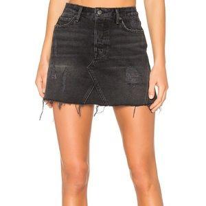 GRLFRND Eva Denim Mini Skirt Washed Black