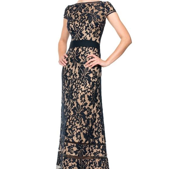 Tadashi Shoji Dresses | Embroidered Lace Cap Sleeve Gown | Poshmark