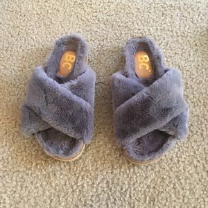 BC shoes fuzzy sandals with cork footbed 6