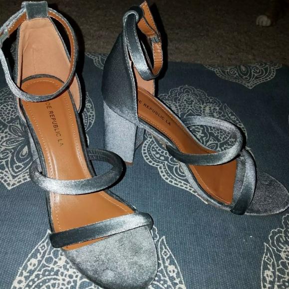 Shoe Republic LA Shoes - 🔥SALE🔥 Grey velvet high heel sandals