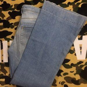 Zara Premium Aged Denim Flare Leg Jeans Light Wash